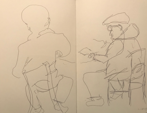 Sketch: Pen and Ink - Back Studies: Two Men