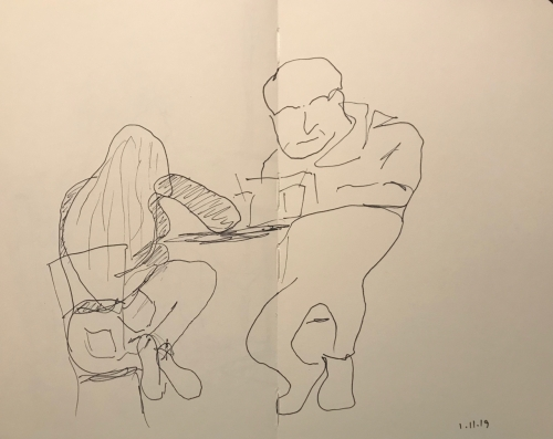 Sketch: Pen and Ink - Comfortable Woman Uncomfortable Man