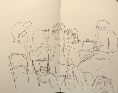 Sketch: Pen and Ink - Discussion Group and Laptop