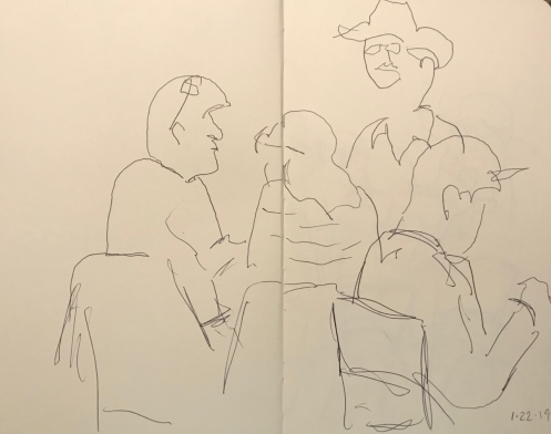 Sketch: Pen and Ink - Discussion Group and Man with Displaced Head
