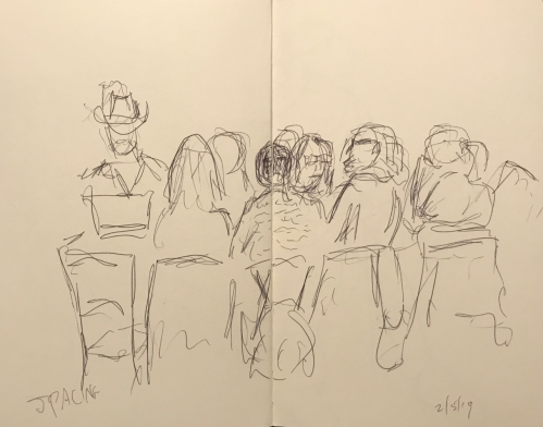 Sketch: Pen and Ink - Entire Discussion Group with Spacing