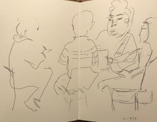 Sketch: Pen and Ink - Family Gathering with Exaggerated Head