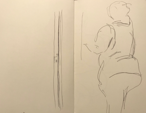 Sketch: Pen and Ink - Lady at Doc Office Counter from Inside 'Sick' Waiting Room