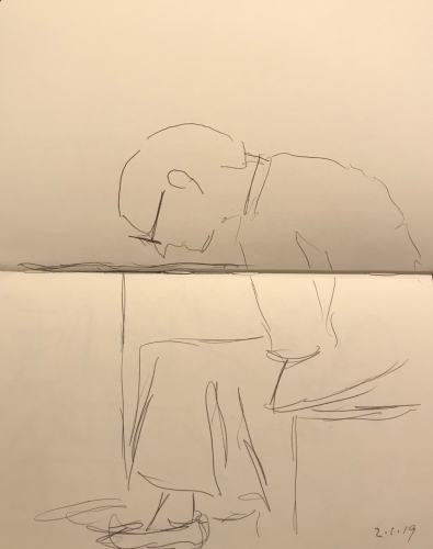 Sketch: Pen and Ink - Man Looking Very Closely at the Table