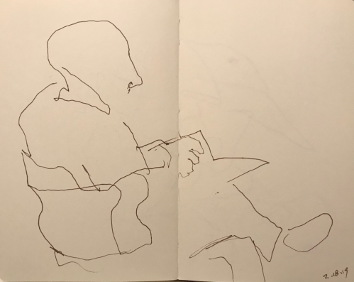 Sketch: Pen and Ink - Man with Crossed Legs, Reading a Magazine