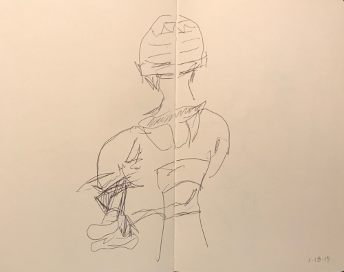 Sketch: Pen and Ink - Man with Watch Cap and Small Feet