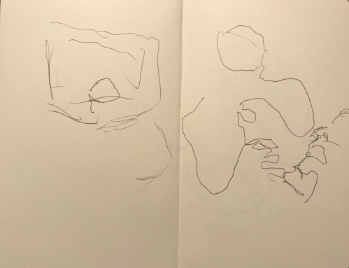 Sketch: Pen and Ink - Medical Procedure on Viewing Screen