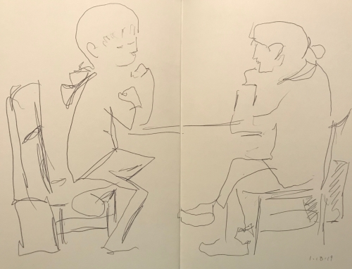 Sketch: Pen and Ink - Mother and Child with Clenched Fists