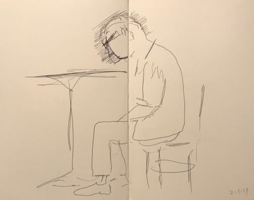 Sketch: Pen and Ink - Seated Man and Mistake Rectified by Parallel Lines