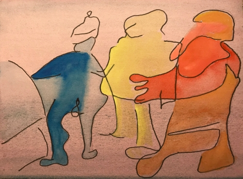 Watercolor and Pen Sketch: Three People in Line from Sketchbook