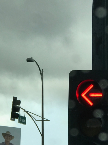Photography: Sky Photography - Traffic Arrow, Lamp Post, Smiley Man and Sky