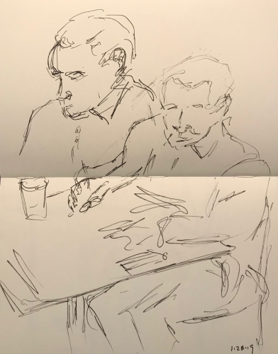 Sketch: Pen and Ink - Two Sketches of Writing Man