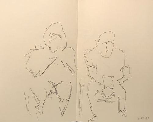Sketch: Pen and Ink - Two Waiters Waiting