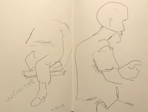 Sketch: Pen and Ink - Unfinished and Patient Getting Ready to Leave