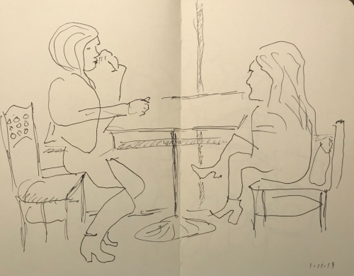 Sketch: Pen and Ink - Women with Boots Sitting by the Window