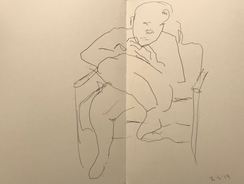 Sketch: Pen and Ink - Young Girl in Comfortable Position, Looking at Phone