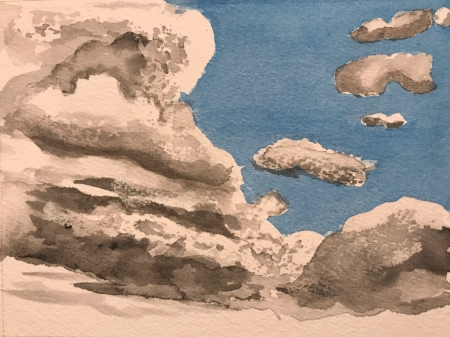 Watercolor Sketch: Cloud Practice 3a: With Blue Skies