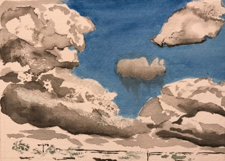 Watercolor Sketch: Cloud Practice 3b: With Blue Skies