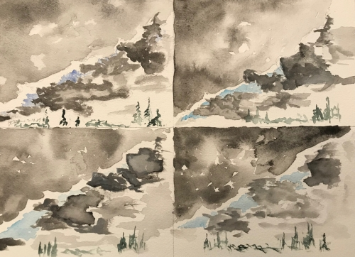 Watercolor Sketch: Cloud Practice Times Four