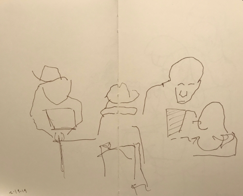 Sketch: Pen and Ink - Discussion Group Drawn Totally Blind