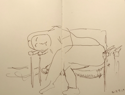 Sketch: Pen and Ink - Girl Waiting for X-ray