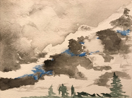 Watercolor Sketch: Gray Clouds in Front of Cloud Line, with Evergreens: Number 1