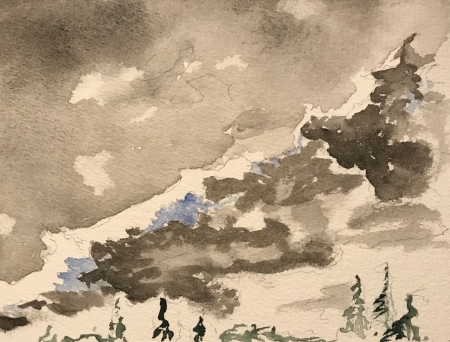 Watercolor Sketch: Gray Clouds in Front of Cloud Line, with Evergreens: Number 2