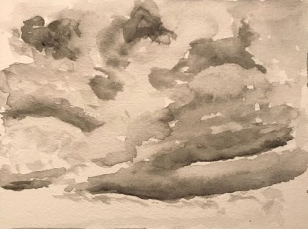 Watercolor Sketch: Gray Clouds Watercolor Try Number 1