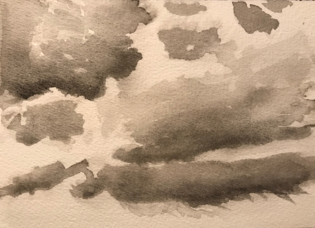 Watercolor Sketch: Gray Clouds Watercolor Try Number 2