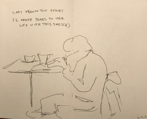 Sketch: Pen and Ink - Lady Drawn Too Short