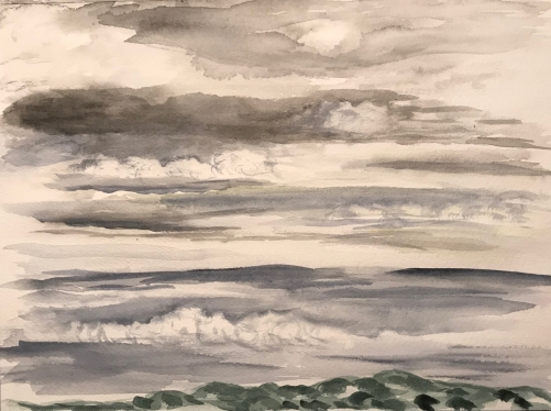 Watercolor Sketch: Layers of Clouds