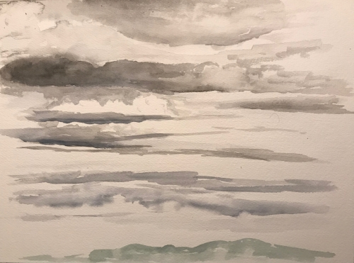 Watercolor Sketch: Layers of Clouds (Underpainting)