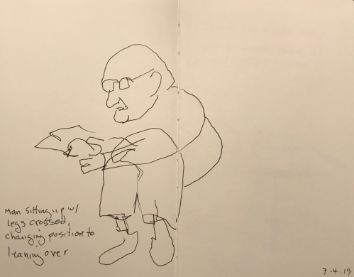 Sketch: Pen and Ink - Man Sitting with Legs Crossed Then Changing Positions