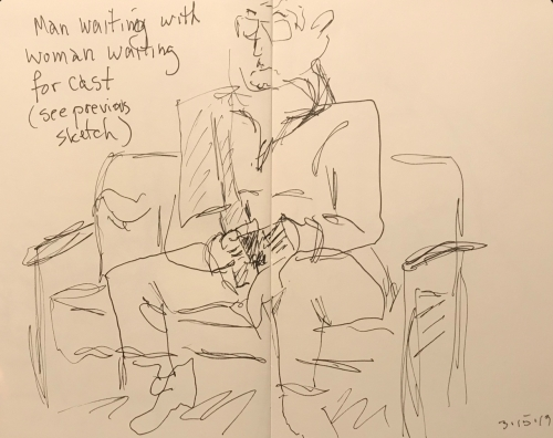 Sketch: Pen and Ink - Man Waiting with Woman Waiting for Cast