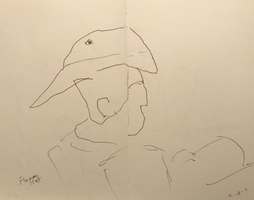 Sketch: Pen and Ink - Man with Floppy Hat