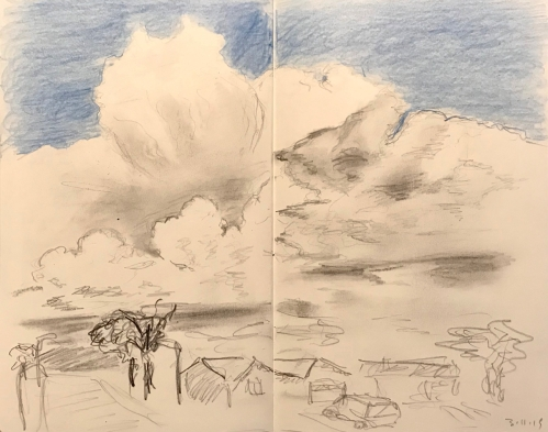 Pencil Sketch of Giant Clouds Dwarfing the Landscape