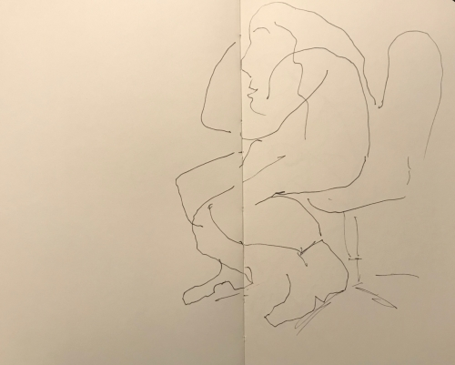 Sketch: Pen and Ink - Physical Therapist Thinking About a Therapy Session
