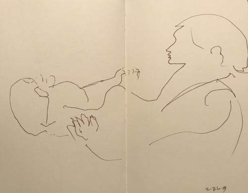 Sketch: Pen and Ink - Physical Therapy Session