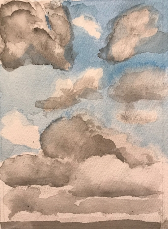 Watercolor Sketch: Practice: Clouds with Blue Sky at Different Heights