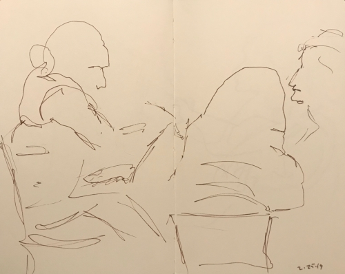 Sketch: Pen and Ink - Trio of People at a Table