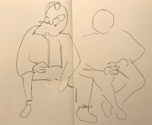 Sketch: Pen and Ink - Two Men Waiting at the Lab, One with Unfinished Face