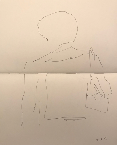 Sketch: Pen and Ink - Waiting for the Receptionist