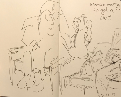 Sketch: Pen and Ink - Woman Waiting to Get a Cast