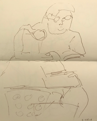 Sketch: Pen and Ink - Woman with Pocket Book on Table