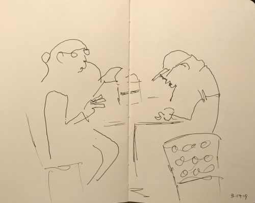 Sketch: Pen and Ink - Woman with Strange Glasses and Hunched Man