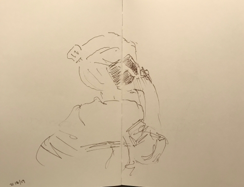 Sketch: Pen and Ink - Young Woman on the Phone