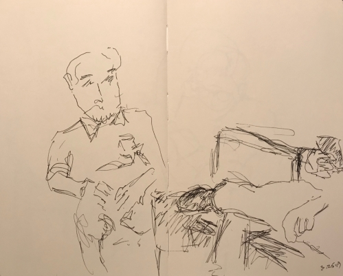 Sketch: Pen and Ink - Bemused Man and Man's Leg