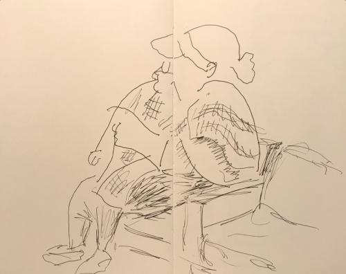 Sketch: Pen and Ink - Heavy Woman in Tartan Wrap