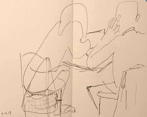 Sketch: Pen and Ink - Leaning In