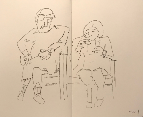 Sketch: Pen and Ink - Man and Wife in Waiting Room